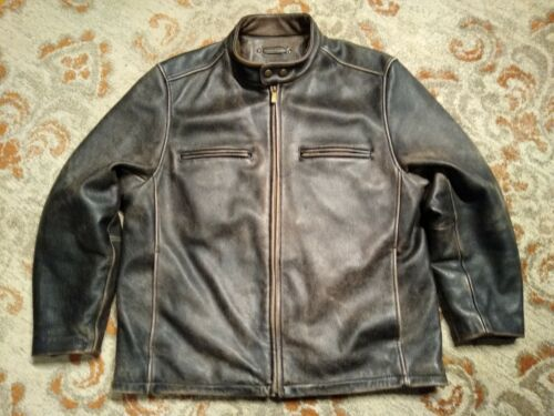 L Mens Wilsons Leather Jacket Coat Distressed Brown Brass ZIpper Logo Snaps Vented Bomber Cafe