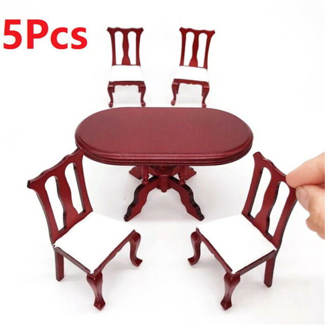 1:12 Dollhouse Miniature Furniture Red Wooden Dining Table Chairs 5pcs Set  LE