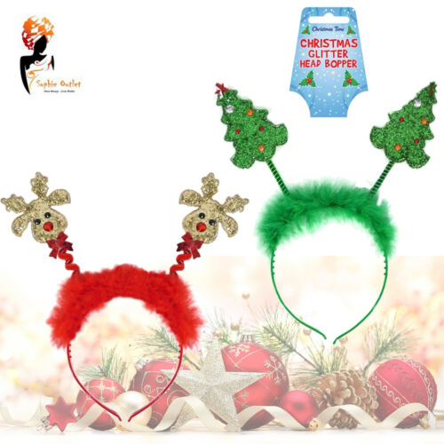Donna Natale brillavano Testa Boppers FASCE Fancy Dress Party Natale Costume