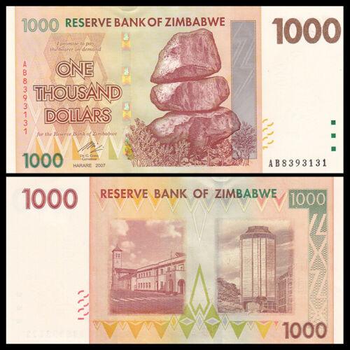 P-71 2007 Zimbabwe 1000 Dollars UNC Banknotes