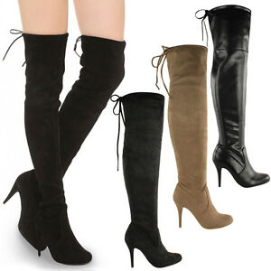 LADIES WOMENS OVER THE KNEE THIGH HIGH STILETTO HEEL BOOTS STRETCH ...