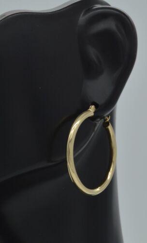 25 x 2 mm 14k solide or jaune Shine Hoop Boucles d/'oreilles