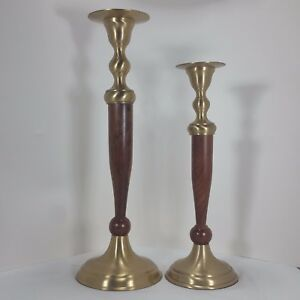 Vintage-Mid-Century-Solid-Brass-and-Wooden-Candlestick-Holders-Tiered-Pair