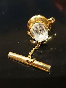 Antique-Vintage-Gold-Colour-Diamond-Glass-Coloured-Jewelled-Tie-Tack-Lapel-Pin