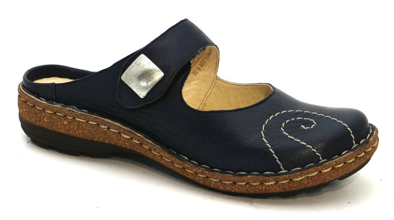 Zapatos OGS amplia Numana Azul Sandalias De Cuero 3E Ancho Extra Ancho (D)