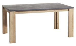 Dettagli su Tavolo da pranzo Vittoria finitura rovere naturale e top in  grigio cemento
