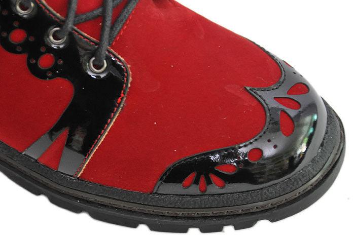 Inamagura RED N BLACK Schnürstiefel Gothic Budapester SAMT Boot Schnürstiefel BLACK - Rockabilly 1a534d