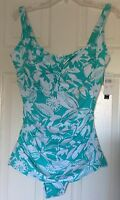 Nwt, Suit Yourself Swimsuit, Sea Green/white Floral, Size 16w, Tummy Thinner