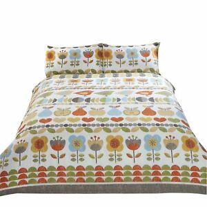 SKANDI FLOWERS FRUITS BIRDS YELLOW COTTON BLEND KING SIZE 6 PIECE BEDDING SET