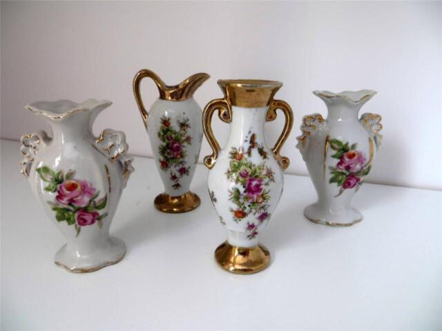 4 Miniature Porcelain Vases Japan Floral with Gold Trim