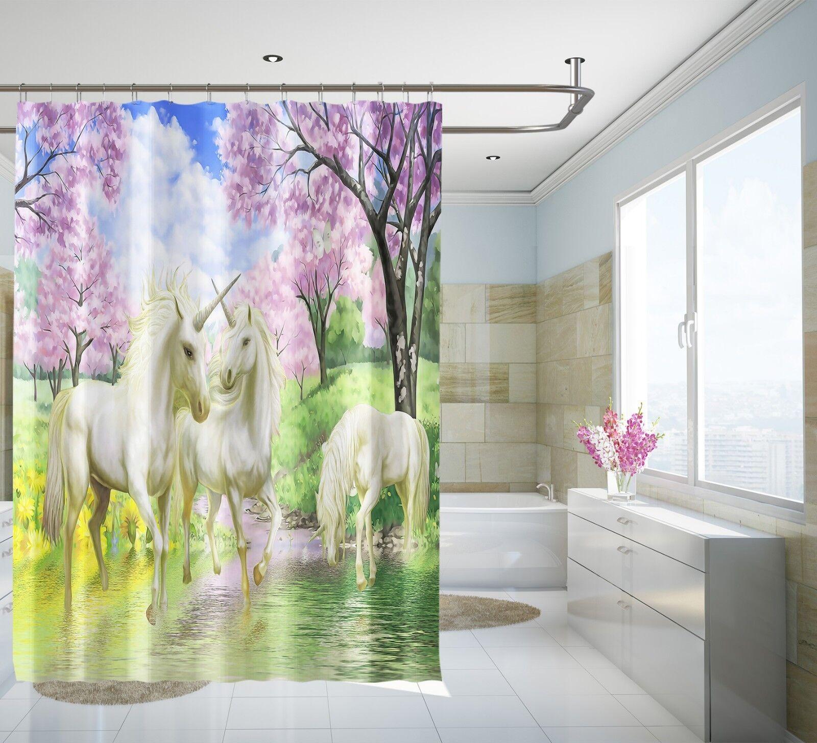 3D Licorne Nature 89 Rideau de Douche Imperméable Fibre Salle De Bain Windows Toilette