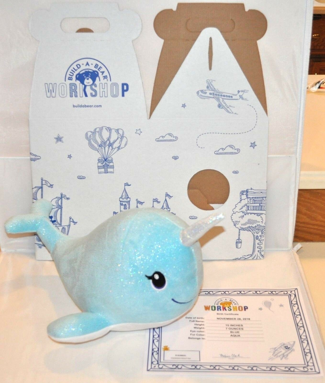 Build A Bear blu Sparkle Narwhal Fish Unicorn of the Sea Plush 15  BAB NEW
