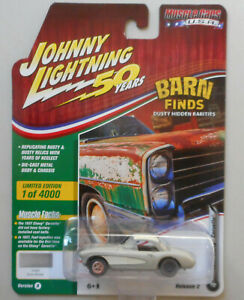 1957-Silver-Chevy-Corvette-Barn-Find-JOHNNY-LIGHTNING-DIE-CAST-1-64-50th