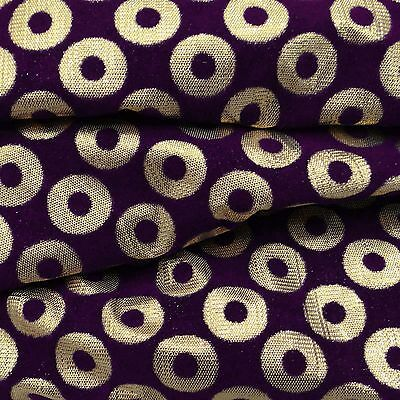 Purple Designer Brocade Fabric 44 Wd Sherwani Dressmaking Fabric By 1 Metre