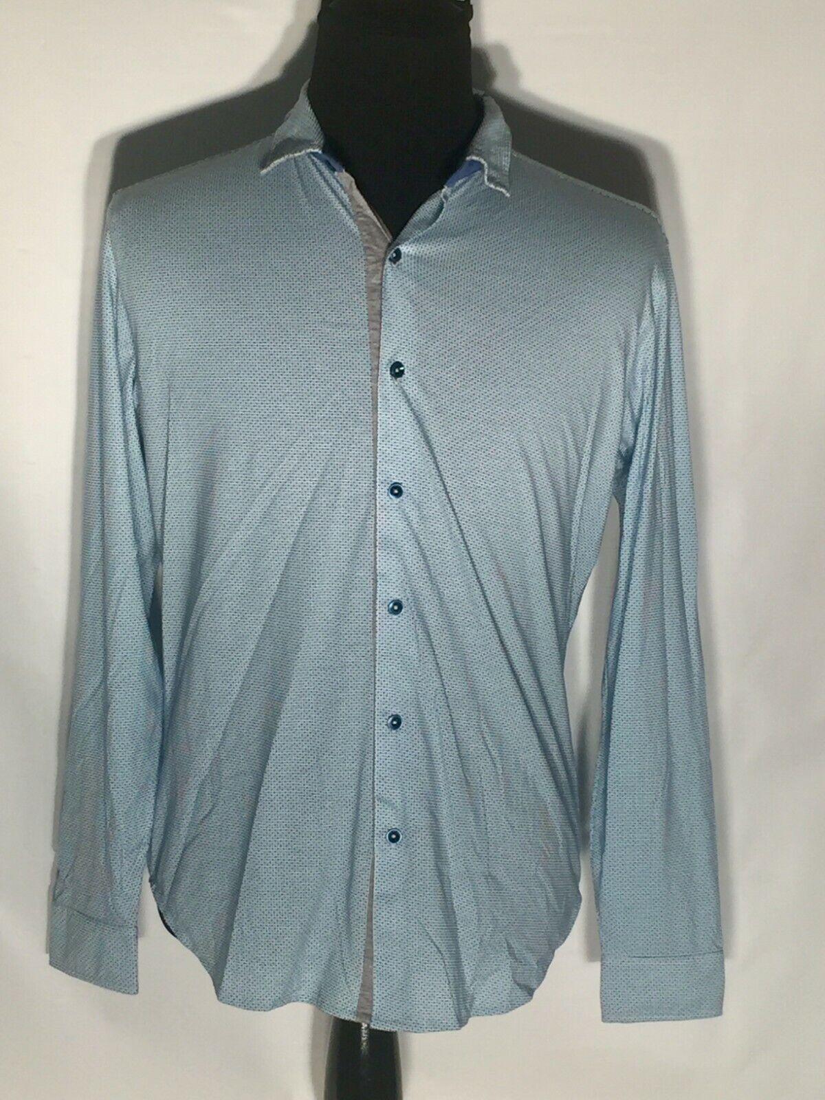 Robert Graham Classic Fit Medium M Blau Dotted Long Sleeve Button-Front Shirt
