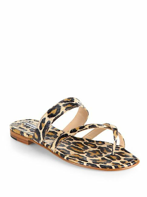 Retail. 795 Manolo Blahnik Susa Animal-Print Snakeskin Sandals Sz 37.5   7.5