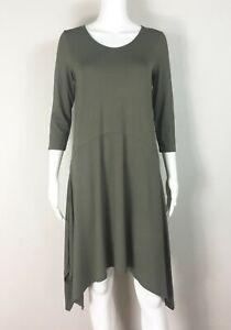 EILEEN-FISHER-Dress-Viscose-Jersey-Oregano-Green-Asymmetric-Size-XS-NTSF