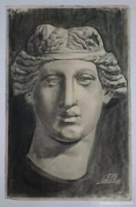 Dibujo-de-rostro-de-escultura-clasica-del-autor-Alberto-Duce-Vaquero-Pintado-al