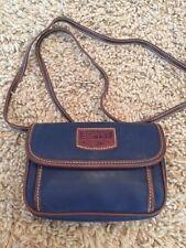 VTG 80s ESPRIT Navy Blue Brown Tiny Small Shoulder Bag Cross Body Purse