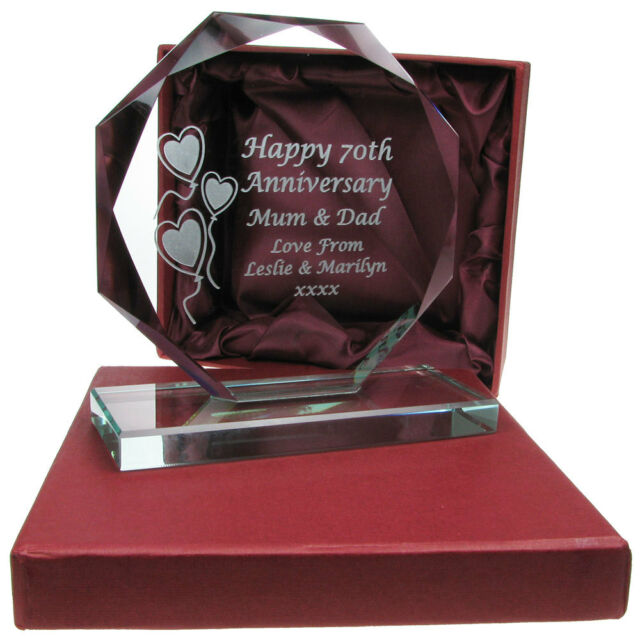 Engraved 50th Golden Wedding Anniversary Presentation Cut Glass Gift