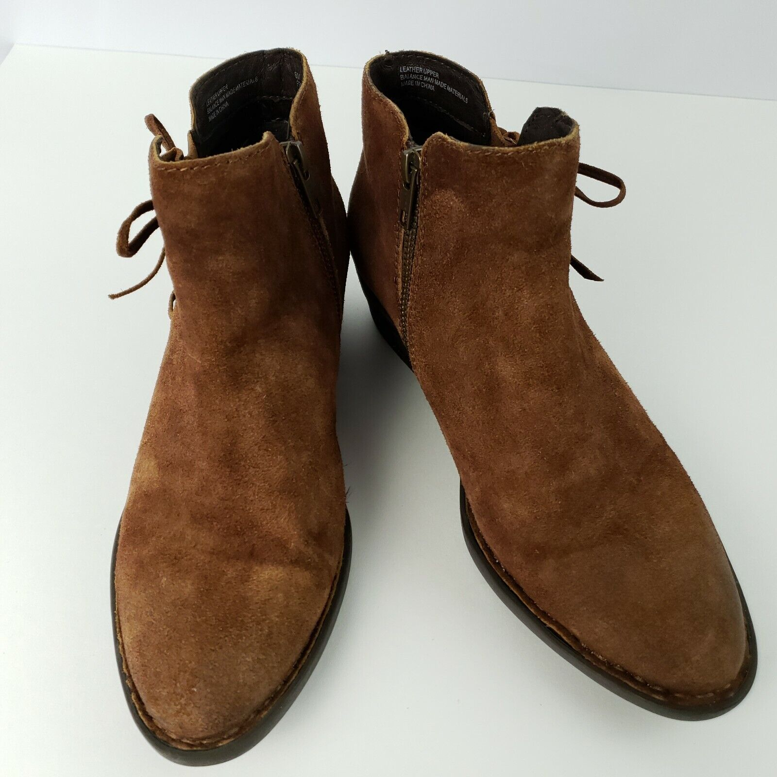 Born Bowlen Ankle Boots shoes 8M Burnished Suede Leather Zip Open Faux Ties