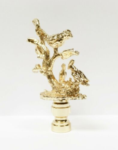 Lamp Finial-BIRDS IN BRANCHES-Polished Brass Finish Highly detailed casting