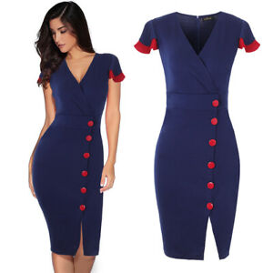 Elegant-Womens-Business-Office-Work-Formal-Dress-Bodycon-Sheath-Split-Dresses
