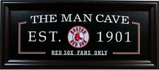 Boston Red Sox Fans Only Man Cave Sign Framed w/ Patch Logo Baseball 27x13