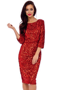 8c1f108c3d7 Sexy Red Vintage 50s Abby Big Sequin Pencil Evening Christmas Party ...