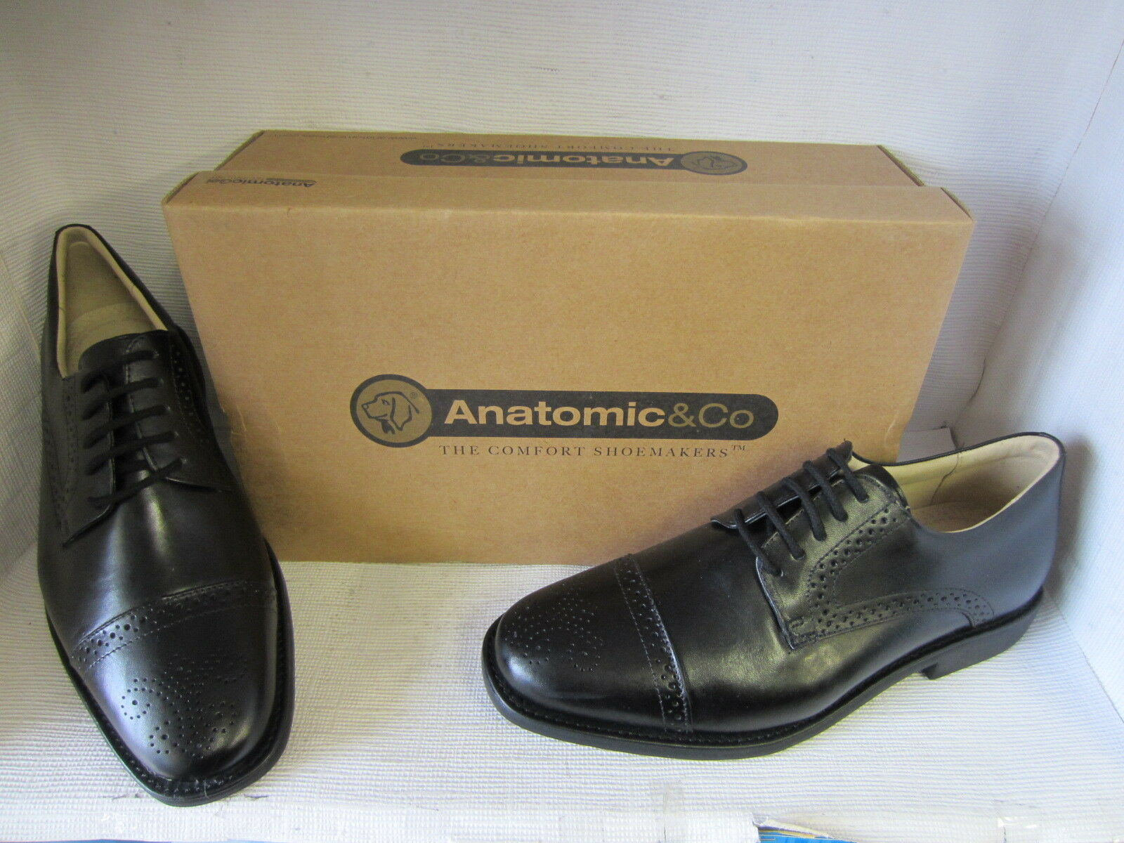 Anatomic & Co Araras Black Leather Smart Lace Up Brogue Style Shoes