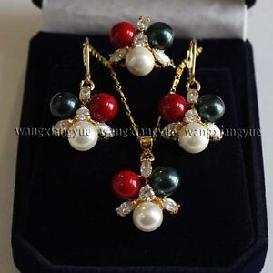 8MM-South-sea-Shell-Pearl-Round-Bead-Earrings-Ring-Necklace-Pendant-Set-Hot