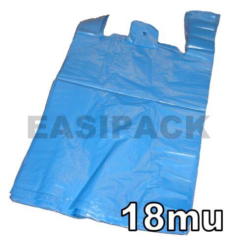 "18mu 5000 Solide Bleu Recyclé 11x17x21/"" Vest Carrier Bags"