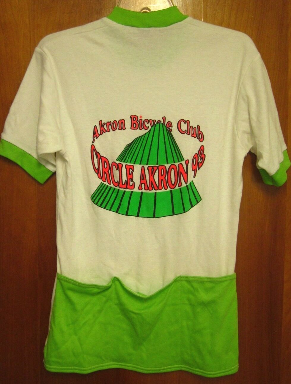 AKRON BICYCLE CLUB small cycling jersey Circle Akron 1993 dayglo tee Ohio ABC