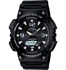 Casio Solar Analog/Digital Watch, Black Resin, 100 Meter, 5 Alarms, AQS810W-1AV
