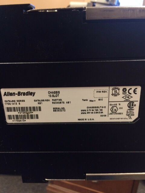 ALLEN BRADLEY 1756-A13 CONTROLLOGIX 13-SLOT CHASSIS RACK SER B