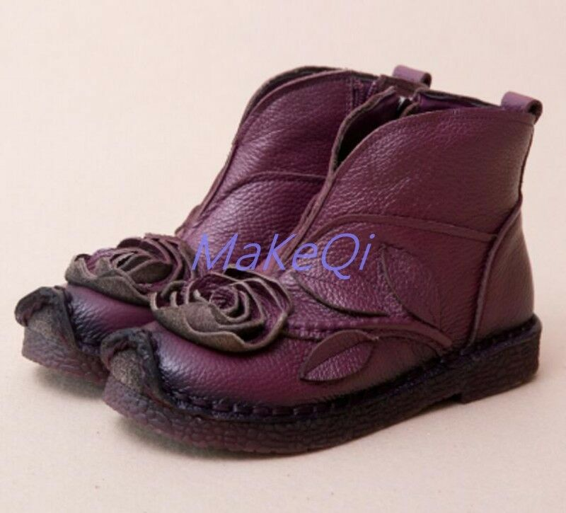 Soft Women's Handmade Ankle Leather Boots Comfy Floral Zipper Winter Shoes