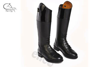 Amelia Childs Long Boots Leather Riding Competition Dressage Black Patent Top