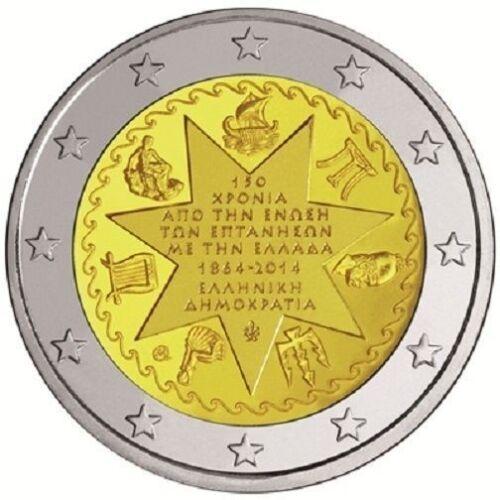 Greece 2 euro 2014 Union of Ionian Islands with Greece 150 Bimetal Grecia UNC
