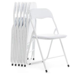 Sedie Pieghevoli In Offerta.Dettagli Su Sedie Pieghevoli Set Da 6 In Metallo Imbottite Colore Bianco Salvaspazio Offerta