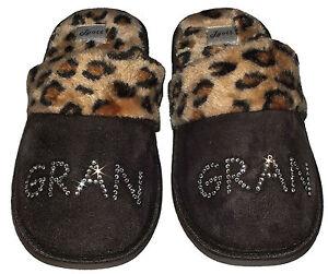 Personalised Slippers diamante Pink Purple Brown Beige Crystal best mum nan fur