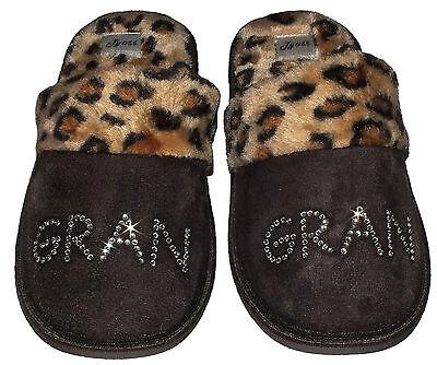 Personalizado Zapatillas mejor gran Mamá Nan marrón Beige De Leopardo Joya tía Rhinestone