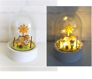 LED Dekoleuchte Glaskuppel Glasglocke mit Beleuchtung Weide Natur Schaf grün