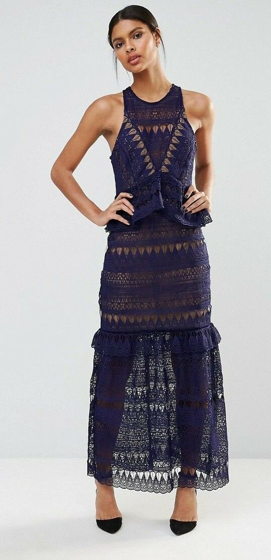 Self portrait authentic full teardrop guipure maxi dress navy US 2 sold out