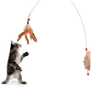 Kitten-Cat-Pet-Toy-Wire-Chaser-Wand-Teaser-Feather-With-Bell-Beads-Play-Fun-UU