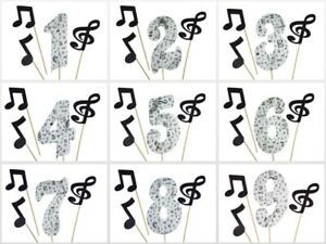 MUSIC NOTES Print Design Birthday NUMBER Cake Topper 5.5 Tall Choose Number