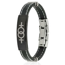 WOMAN STEEL BRACELET AND SILICONE SYMBOL 2 WOMEN LESBIAN UNION NEW 0768