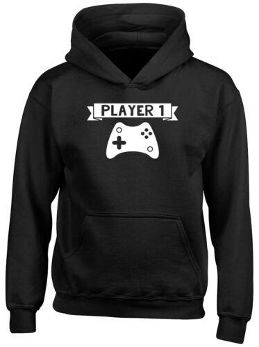 Player 1 Video Games Boys Girls Kids Childrens Hooded Top Hoodie