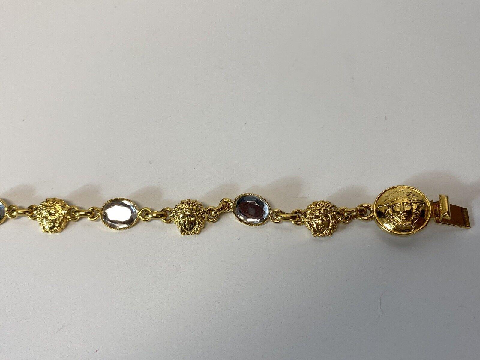 Rare Vtg Gianni Versace Gold Medusa Crystal Brace… - image 2
