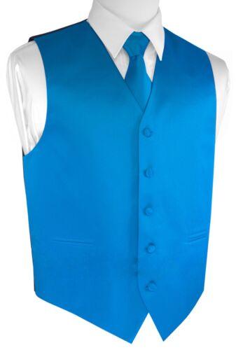 Men/'s Blue Satin Formal Dress Tuxedo Vest Wedding Prom Homecoming Tie /& Hankie