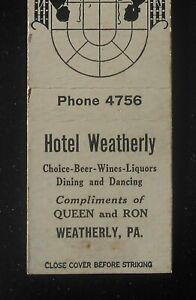 1940s Hotel Weatherly Beer Wines Liquors Dining Dancing Phone 4756  Weatherly PA | eBay